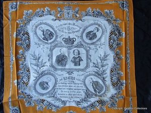 doek gemaakt in 1874 t.g.v het zilveren jubileum van Koning Willem III