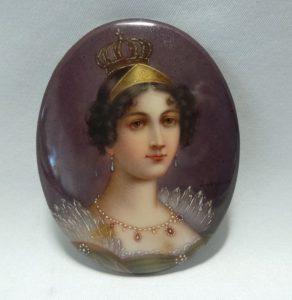 porseleinen plaquette van Koningin Hortense ca 1806.