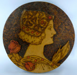 pyrography bord ( portret in hout gebrand)