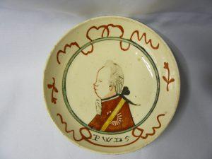 Klein bordje met afbeelding Prins Willem de vijfde ca 1788.