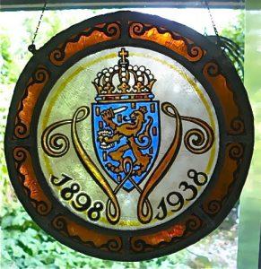 Raamhanger gemaakt voor het 40 jarig jubileumvan koningin Wilhelmina 1938. Maker onbekend.