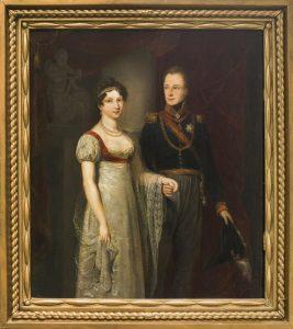 Jan Willem Pieneman Huwelijksportret van Willem en Anna Paulowna als kroonprinselijkpaar, 1816 paneel, 34,5 x 30 cm Tilburg, Stadsmuseum, collectie gemeente Tilburg