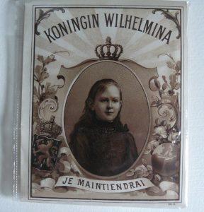 sigaren doos label met Wilhelmina in rouwkleding