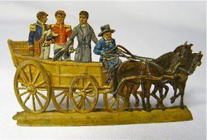Tinnen figuur van de aankomst van Willem te Scheveningen 1813.